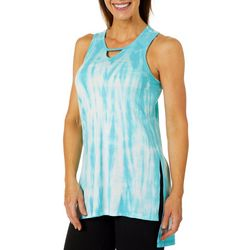 Brisas Womens Tie Dye Mesh Panel Sharkbite Hem Tank Top