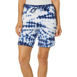 Brisas Womens Tie Dye Drawstring Pull On Bermuda Shorts