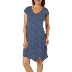 Brisas Womens Striped V-Neck Short Sleeve Dress