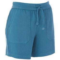 Brisas Womens Solid Pull On Drawstring Shorts