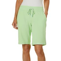 Brisas Womens Solid French Terry Pull On Bermuda Shorts