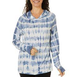 Brisas Womens Tie Dye Hooded Long Sleeve Top