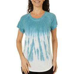 Brisas Womens Round Neck Tie Dye Short Sleeve Top