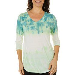 Brisas Womens Tie Dye Elbow Sleeve Top