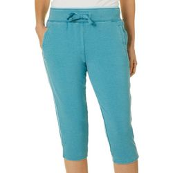 Brisas Womens Solid Knit Drawstring Capris