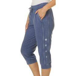 Brisas Womens Star Detail Mineral Wash Capris