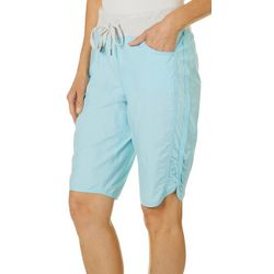 Brisas Womens Solid Ruched Side Shorts