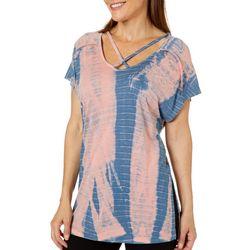 Brisas Womens Tie Dye Stripe Crisscross Neck Top