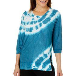 Brisas Womens Tie Dye Side Split Hem Top