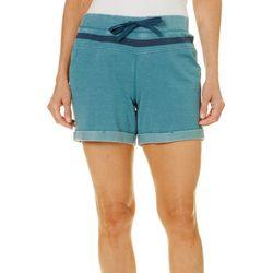 Brisas Womens Mineral Wash Roll Cuffed Hem Shorts