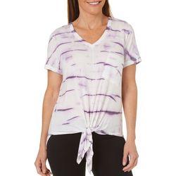Brisas Womens Tie Dye Print Tie Front T-Shirt
