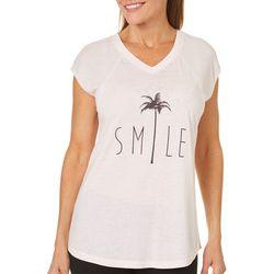 Brisas Womens Smile Waffle Sleeve Top
