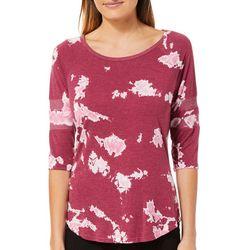 Brisas Womens Tie Dye Heathered Baseball T-Shirt