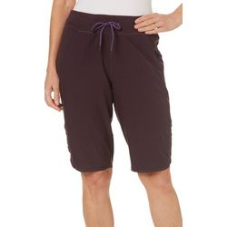Brisas Womens Solid Side Shirred Bermuda Shorts