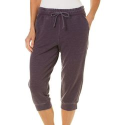 Brisas Womens Solid Mineral Wash Banded Cuff Capris