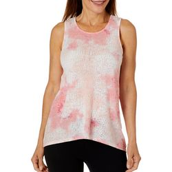 Brisas Womens Tie Dye Burn Out Print Tank Top