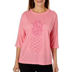 Brisas Plus Pineapple Screen Print High Low Top
