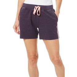 Brisas Womens Heathered Mineral Wash Stripe Detail Shorts