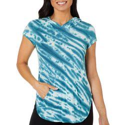 Brisas Womens High Low Tie Dye Hooded Top