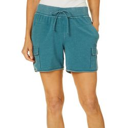 Brisas Womens Mineral Wash Pull On Cargo Shorts