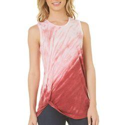 Brisas Womens Tie Dye Twist Knot Hem Tank Top