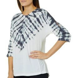 Brisas Womens Tie Dye Split Sleeve Top