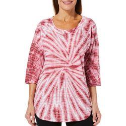 Brisas Womens Tie Dye Textured Line Top