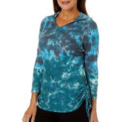 Brisas Womens Waffle Knit Tie Dye Side Tie Hooded Top