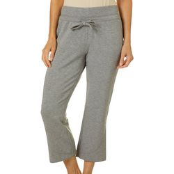Brisas Womens Heathered Solid Wide Leg Knit Lounge Capris