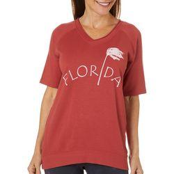 Brisas Womens Florida Palm Tree V-Neck Short Sleeve