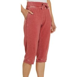 Brisas Womens Solid Mineral Wash Knit Capris