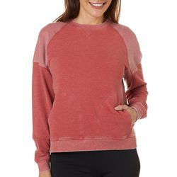 Brisas Womens Solid Mineral Wash Long Sleeve Sweater