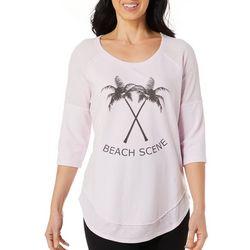 Brisas Womens Beach Scene Layered Look Raglan Top