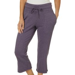 Brisas Womens Solid Mineral Wash Knit Lounge Capris