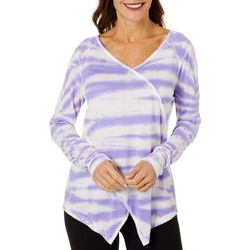 Brisas Womens Tie Dye Long Sleeve Wrap Look Top