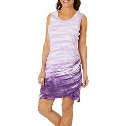 Brisas Womens Tie Dye Ruched Side Sleeveless Dress