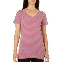 Brisas Womens Stripe Print V-Neck Top