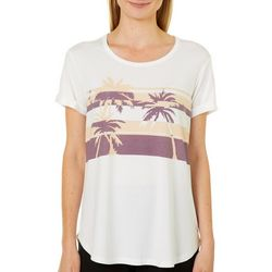 Brisas Womens Palm Tree Screen Print Open Back Top