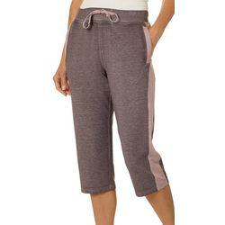 Brisas Womens Side Stripe Heathered Wide Leg Knit Capris