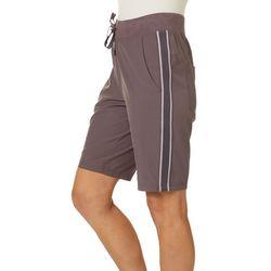 Brisas Womens Solid Side Stripe Bermuda Shorts
