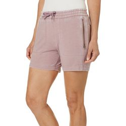 Brisas Womens Mineral Wash Zippered Pocket Pull On Shorts