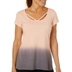 Brisas Womens Ombre Print Striped Top