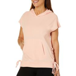 Brisas Womens Lace Up Solid Hooded Top