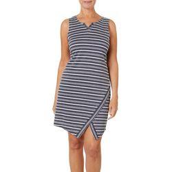 Brisas Womens Striped Split Hem Terry Dress