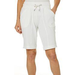 Brisas Womens Solid Knit Drawstring Bermuda Shorts