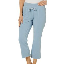 Brisas Womens Solid Wide Leg Knit Capris