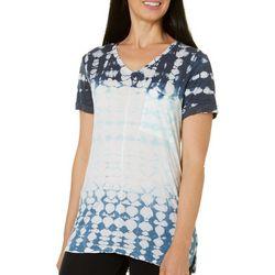 Brisas Womens Tie Dye V-Neck Top