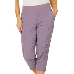 Brisas Womens Solid Woven Stretch Capris