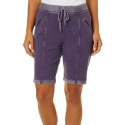 Brisas Womens Mineral Wash Roll Cuff Bermuda Shorts