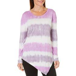 Brisas Womens Tie Dye Asymetrical Hem Long Sleeve Top